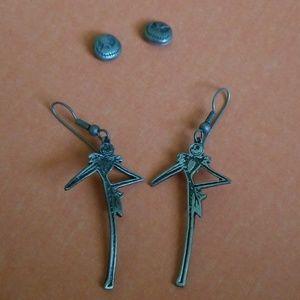 Two sets of Jack Skellington earrings